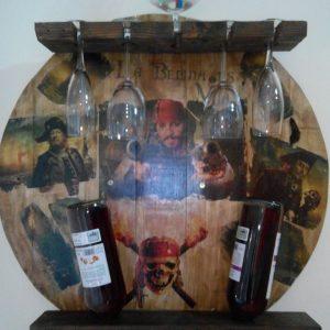 Botellero circular de madera