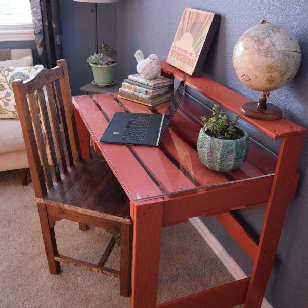 escritorio rústico de palet combinado