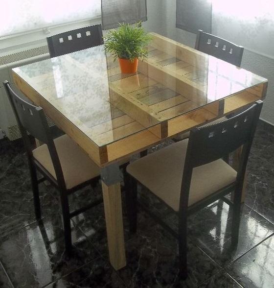 mesa palet con cristal