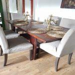 mesa de comedor de palets marron caoba