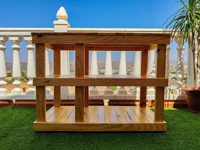 mesa de madera para lavabo