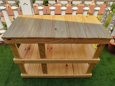 mesa de madera lavabo